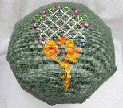 Vintage Handmade Flower tennis Design blue Round Needlepoint 4 Wood Legs Stool