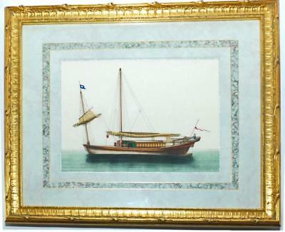 SUPER ANTIQUE 19th c CHINESE WATERCOLOUR PITH PAINTING - JUNK BOAT SHIP #2