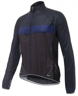 Santini SMS Skin Windbreaker Bike Jacket Black/Blue 2018