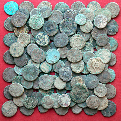 Lots of 130 Follis Maiorina AE2 AE3 AE4 ancient Roman bronze coins - uncleaned