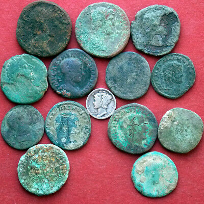 Lots of 13 Sestertius or AE1 ancient Roman coins - uncleaned