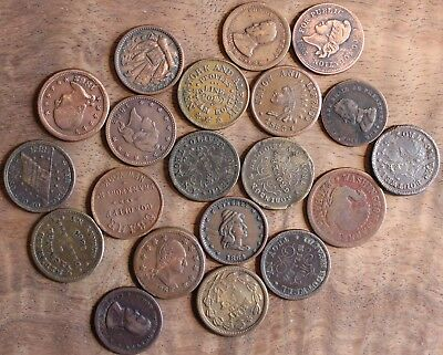 1863 Civil War Token Store Token Lot Of 20 Assorted Cents US Coins Historical