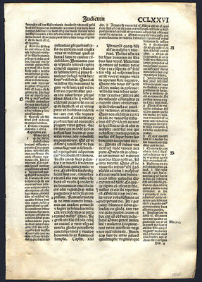 520 Yr Old Incunable Bible Leaf Book of Judges 21 The Tribes of Israel Koberger