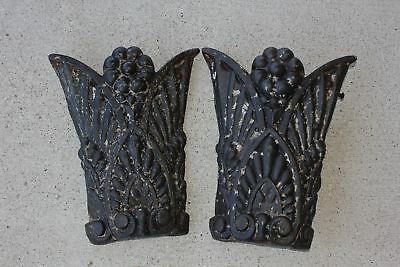 """2 HEAVY Ornate 15"""" x 12.5 Embossed Cast Iron Architectural Plates Salvage Panels"""