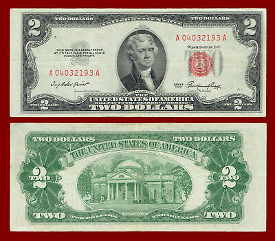 "1953 Two Dollars ""united States Note"" (Red Seal) $2 Note 2193"