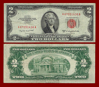 """1953-B Two Dollars """"united States Note"""" Red Seal $2 Note 1436"""