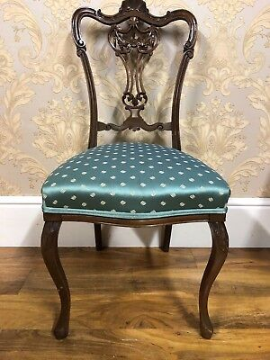 Fabulously pretty antique victorian hall chair, superb carved detail duck egg b