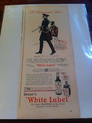Vintage 1939 Dewar's White Label Honours Of The Scots Guards Whiskey ad
