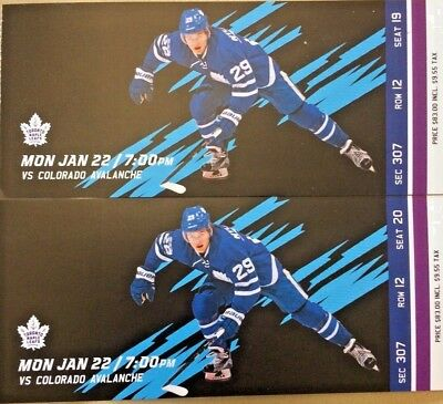2 Tickets Monday January 22, 2018 Toronto Maple Leafs vs. Colorado Avalanche