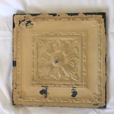 "11"" x 11 Antique Tin Ceiling Tile Wrapped Frame Anniversary Tan 708-17"