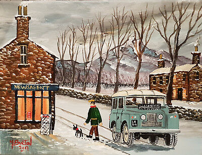 """Mal..burton Original Art Oil Painting   """" Call For The Morning Paper Land Rover"""