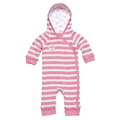 Under the Nile Lined Hooded Romper Pink Stripes 0-3 months Baby Girl