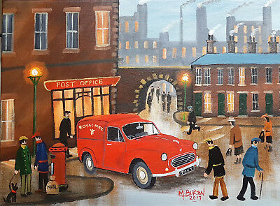 """Mal..burton Original Art Oil Painting """" A Chat With The Postman"""