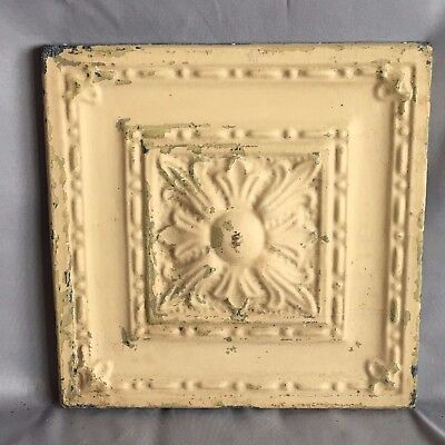 "11"" x 11 Antique Tin Ceiling Tile Wrapped Frame Anniversary Tan 709-17"