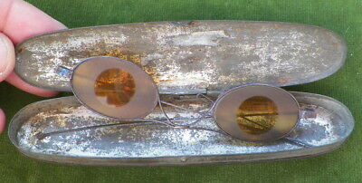 ORIGINAL 18th CENTURY TINTED SPECTACLES EYE GLASSES ? SUNGLASSES ? IN TIN CASE