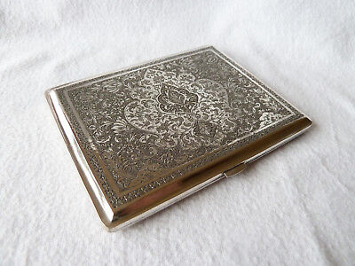 Antique Persian Solid Silver Card Cigarette Case NO RESERVE.