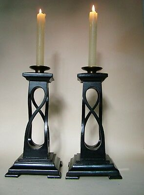 Striking Pair Of Aesthetic Movement , Liberty Style Open Twist Candlesticks.