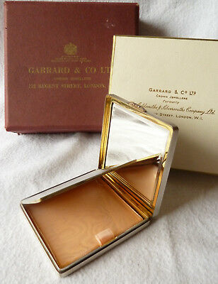 Vintage Solid Silver Compact Crown Jewelers Garrard & Co Mint in Original Boxes