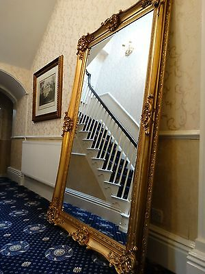 Fabulous Extra Tall gold gilt French Wall hall leaner mirror. Ornate & Opulent b