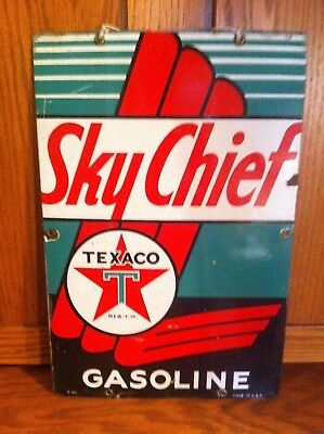 Vintage 1940 Texaco Sky Chief Porcelain Gas Pump Dated Sign