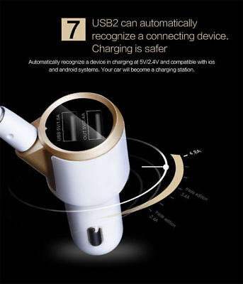 Dual USB Charger Bluetooth FM Radio Transmitter for Car Audio iPhone Android US