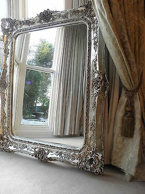 Fabulously ornate HUGE!!!  XXL Silver Rococo Wall hall leaner mirror.