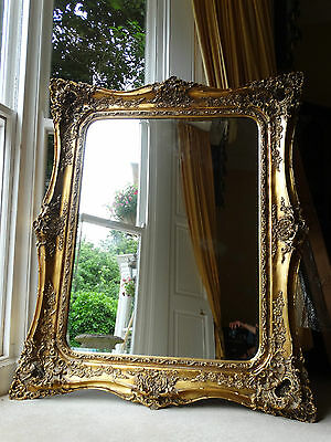 Fabulously ornate HUGE Extra Large opulant Gold Rococo Wall hall leaner mirror.