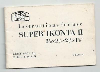 Instructions For Use Super Ikonta 11 Zeiss Ikon