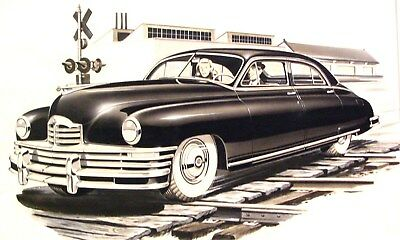 1949 Packard Deluxe 8 Automobile Detroit Advertising Styling Art Painting md204