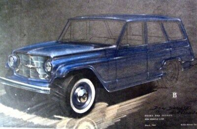 1960 Willys Jeep Station Wagon Automobile ORIGINAL Styling Art Painting md221