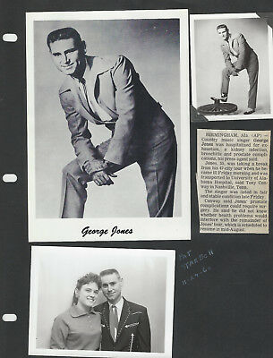 George Jones 2 Pages / 10 Photos + Clippings 1 is Signed - Grand Ole Opry
