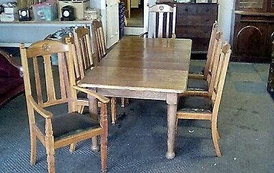 Antique Oak  Arts And Crafts Wind-Out Dining Table And Eight Chairs