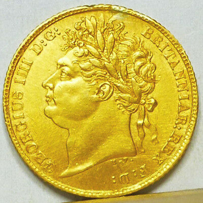 Great Britain Gold Half Sovereign 1823 Almost Uncirculated