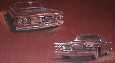 1962 Chrysler Imperial Automobile ORIGINAL Framed Styling Art Painting md952