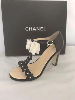 8c5e730ffb CHANEL 17C Pearl Camellia T Strap Silk Bow Leather Heel Sandal Shoes Black  $1275