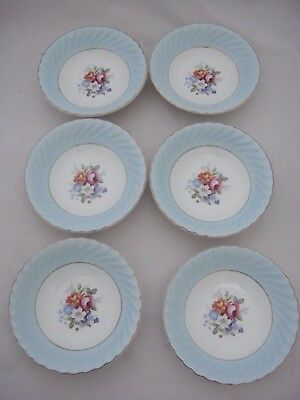 Set of Six Pretty Vintage Dishes - Old Foley By James Kent Ltd - Bouquet Pattern