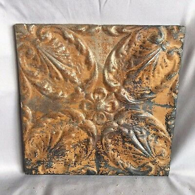"11"" x 11 Antique Tin Ceiling Tile Wrapped Frame Anniversary Brown 715-17"