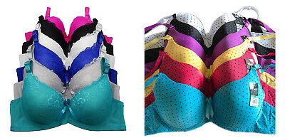 Pack Lot 3 6 Sexy Women Wired Light Padded Polka Dot Full Cup Lace D/DD Bra