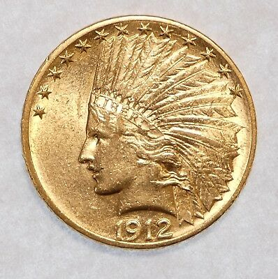 BARGAIN 1912 GOLD Indian Head Eagle $10 Coin ALMOST UNCIRCULATED