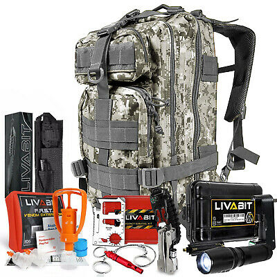 LIVABIT SOS Bug Out 3 Day Backpack First Aid Kit Emergency Survival Gear ACU