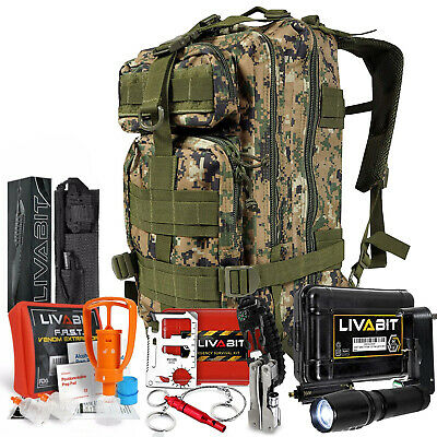 LIVABIT SOS Bug Out 3 Day Backpack First Aid Kit Emergency Survival Gear MARPAT