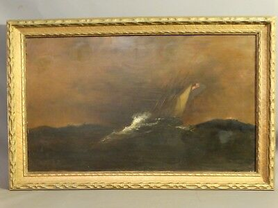 19thC Antique AMERICAN Flag CLIPPER SHIP Victorian MARITIME SEASCAPE PAINTING