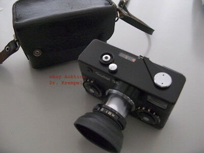 Vintage ROLLEI 35 (Singapore), schwarz/black, Tessar 40mm, Tasche/leather case