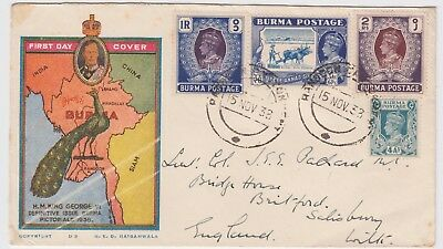 BURMA 1938 KGVI definitive part set of 4 on official illustrated FDC