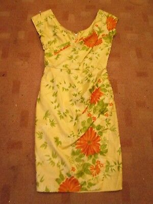 Vintage 50s early 60s pencil wiggle dress/PEGGY WOOD/floral wrap design/sz 8