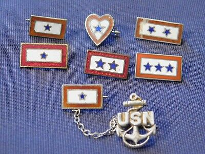 WWI and WWII Son in Service Pin Lot Blue Star Mothers Pins 1-3 Star Sterling USN