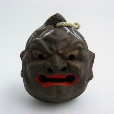 Japanese Clay Pottery Daruma Bell, Signed