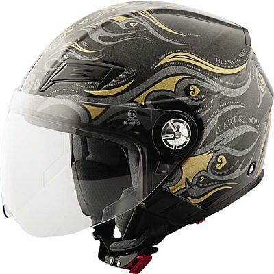 Black/Gold Sz XS Speed And Strength SS650 Heart And Soul Open Face Helmet Motorc