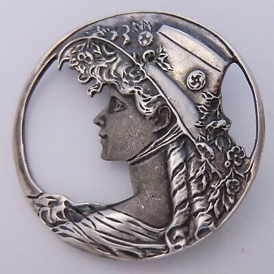 Vintage Sterling Silver Victorian Lady Silhouette Pendant Pin