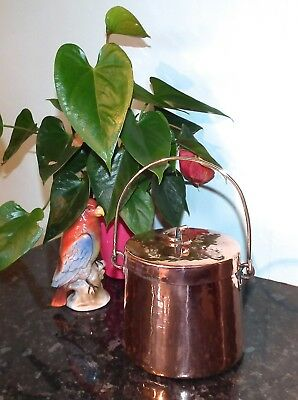 Antique Tin Lined Copper Pan Pot Brass Bale Handle Vintage Gypsy Kitchen Decor